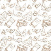 Seamless pattern of female subjects - underwear cosmetics shoes