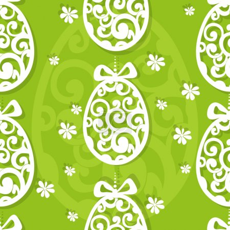 Illustration for Easter egg openwork appliques seamless background - Royalty Free Image