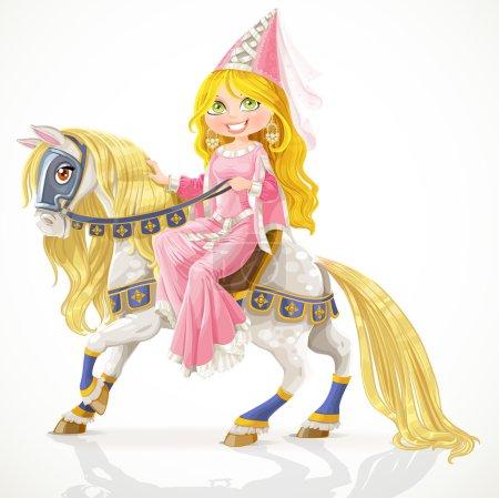 Illustration pour Belle princesse sur un cheval blanc avec une crinière dorée en harnais - image libre de droit