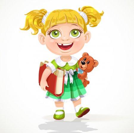 Illustration pour Jolie petite fille avec un ours en peluche et un livre sous le bras - image libre de droit
