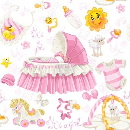 Seamless pattern of cribs, toys and stuff it's a g...