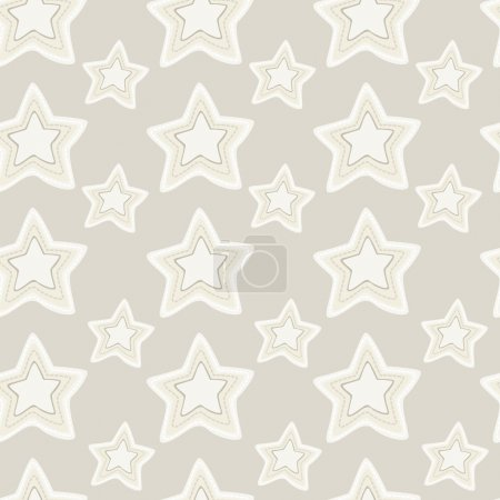 Seamless pattern of stars with hand embroidered stitches on dark