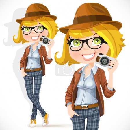 Illustration for Hipster girl with a camera isolated on white background - Royalty Free Image