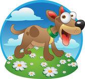 Vektorové komický pes na zelené trávě