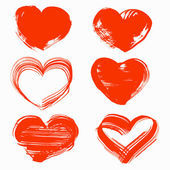 Hearts drawn with a brush and paint by St Valentine's Day
