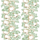 Seamless line pattern of the branches of the apple trees with apples