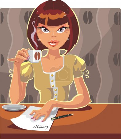 Illustration for Businesswoman drinking tea or coffee - Royalty Free Image