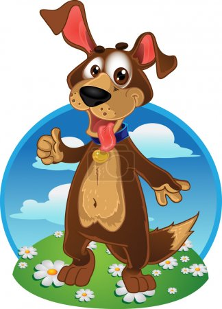 Illustration for Fun dog on a color background - Royalty Free Image