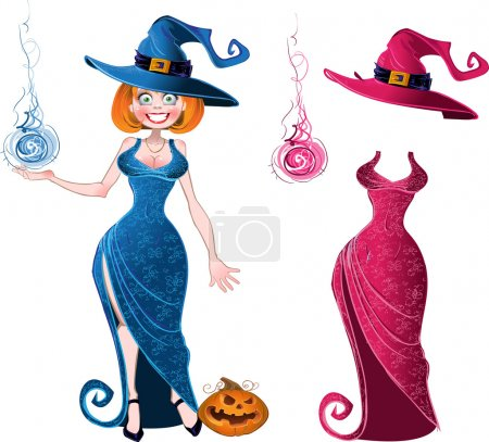 Illustration for Pretty witch with fireball in blue dress and pink batch of suit - Royalty Free Image
