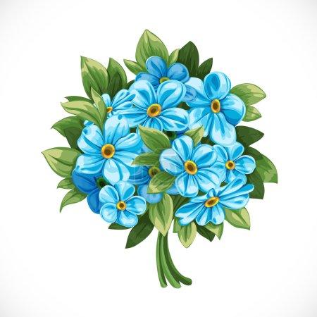 Illustration pour Bouquet de bleu oublie-moi-pas - image libre de droit
