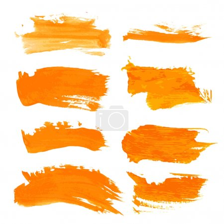 Illustration for Set orange gouashe realistic thick paint strokes - Royalty Free Image