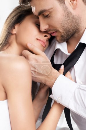 Photo for Beautiful sexy intimate couple hug each other - Royalty Free Image