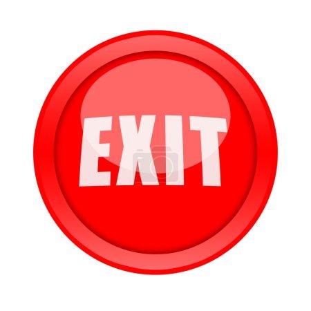 Photo pour Grosse sortie rouge bouton isolé sur fond blanc - image libre de droit