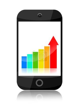 Photo pour Smartphone avec stats d'affaires isolés sur fond blanc de plus en plus - image libre de droit