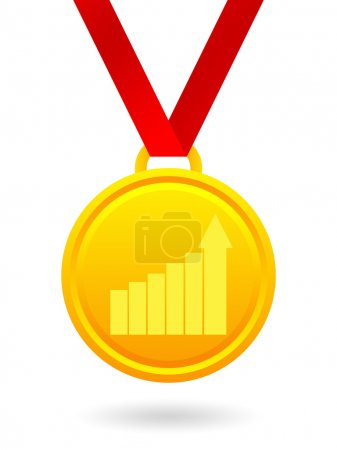 Photo pour Médaille d'or avec un croissant de graphe statistique isolé sur fond blanc - image libre de droit