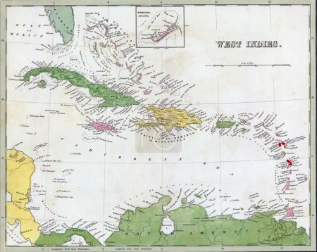 Antique map of Cuba and the Caribbean