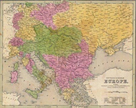 Photo pour Carte antique de l'Europe de l'Est épuisé 1841 Goodrich atlas - image libre de droit