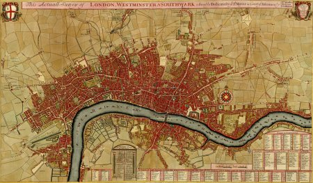 Antique map of London, Southwark asnd Westminster,