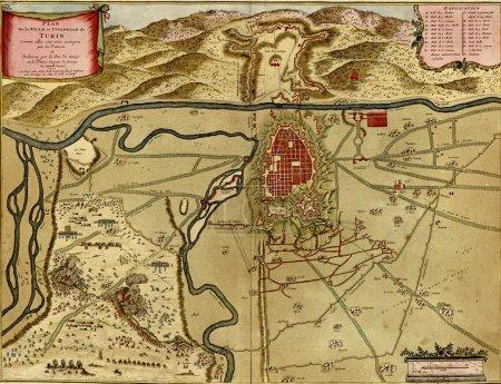 antike karte von turin, italien