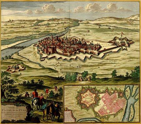 antike Landkarte der befestigten Stadt casale monferrato ,
