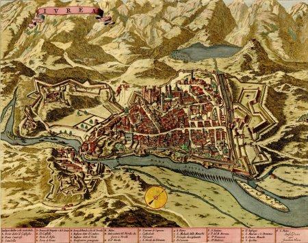 Antique map of Ivrea, Italy