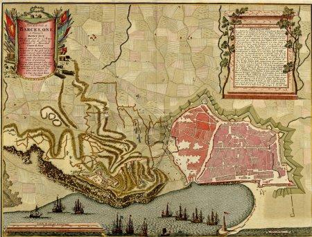 antike karte von barcelona