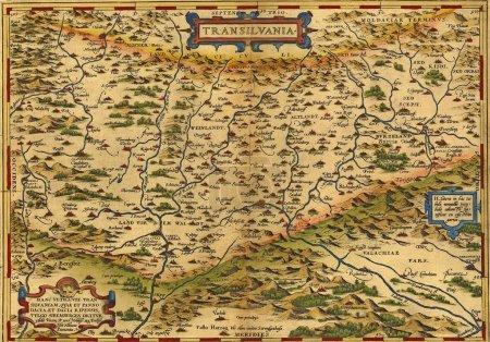 Antique Map of Transylvania, Romania