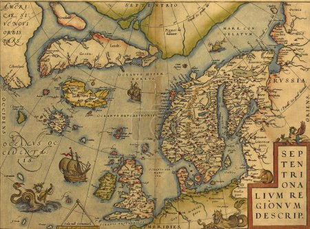 Antique Map of the North Sea - England, Scandinavia and Iceland