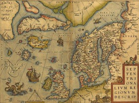 antike Karte der Nordsee - England, Skandinavien und Island