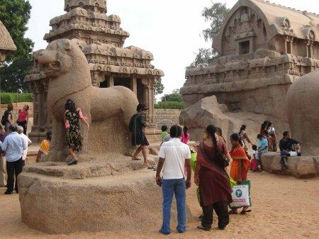 Indian tourists explore ancient temples