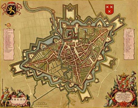 Antique map of Breda, Netherlands