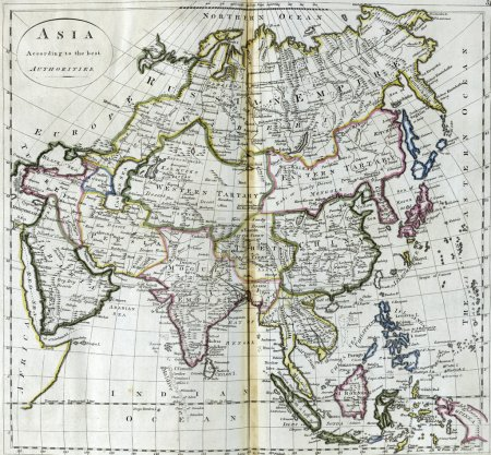 Antique map of Asia from 18th century