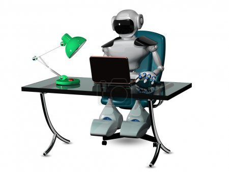 Photo for 3d abstract illustration of a robot at the table - Royalty Free Image