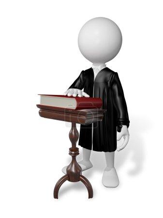 Photo pour Illustration abstraite d'un homme blanc dans le manteau à une table avec un livre - image libre de droit