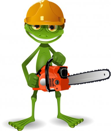 Frog with a chainsaw
