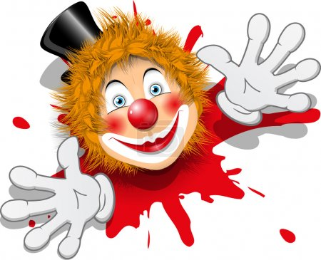 Illustration redheaded clown face in black hat...