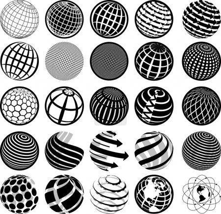 black and white icons globe