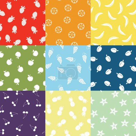 Illustration for Vector seamless colored fruit patterns - Royalty Free Image