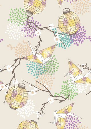 Illustration for Seamless pattern with yellow paper cranes and lanterns - Royalty Free Image
