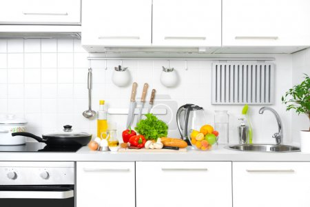 Photo for Modern kitchen at home with healthy food - Royalty Free Image