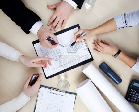 Photo for Hands of business at the table at the meeting in the office. top view - Royalty Free Image