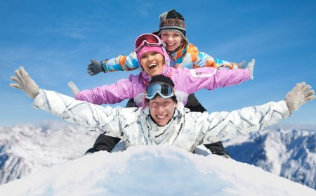 Photo for Group of young friends enjoying in winter resort - Royalty Free Image