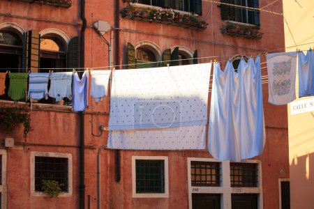 Clothes hanging to dry on a clothes-line...