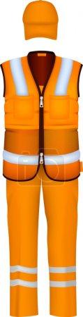 Illustration pour Gilet de sécurité et combinaison uniforme . - image libre de droit