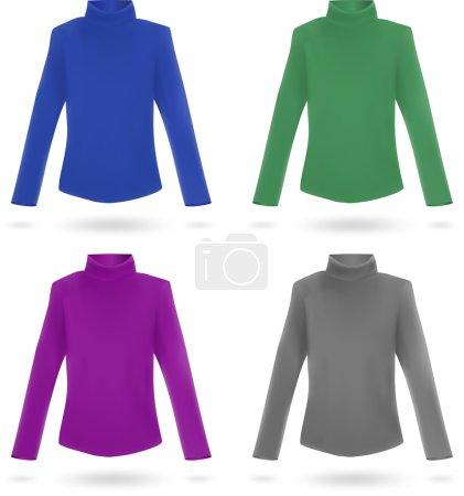 Set of blank long sleeve sweaters for women.