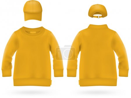 Illustration for Plain long sleeve shirt with baseball hats for kids. - Royalty Free Image
