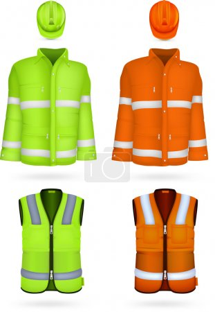 Safety jacket, vest and hardhat.