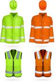 Safety jacket, vest and hardhat.