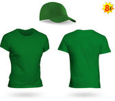 Uniform template set: green t-shirt and a cap