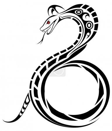 Illustration pour Serpent vecteur, Cobra sous la forme d'un tatouage tribal - image libre de droit